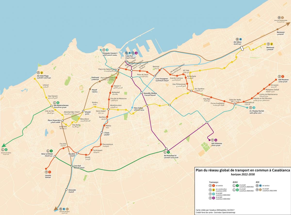 Casablanca transportation map