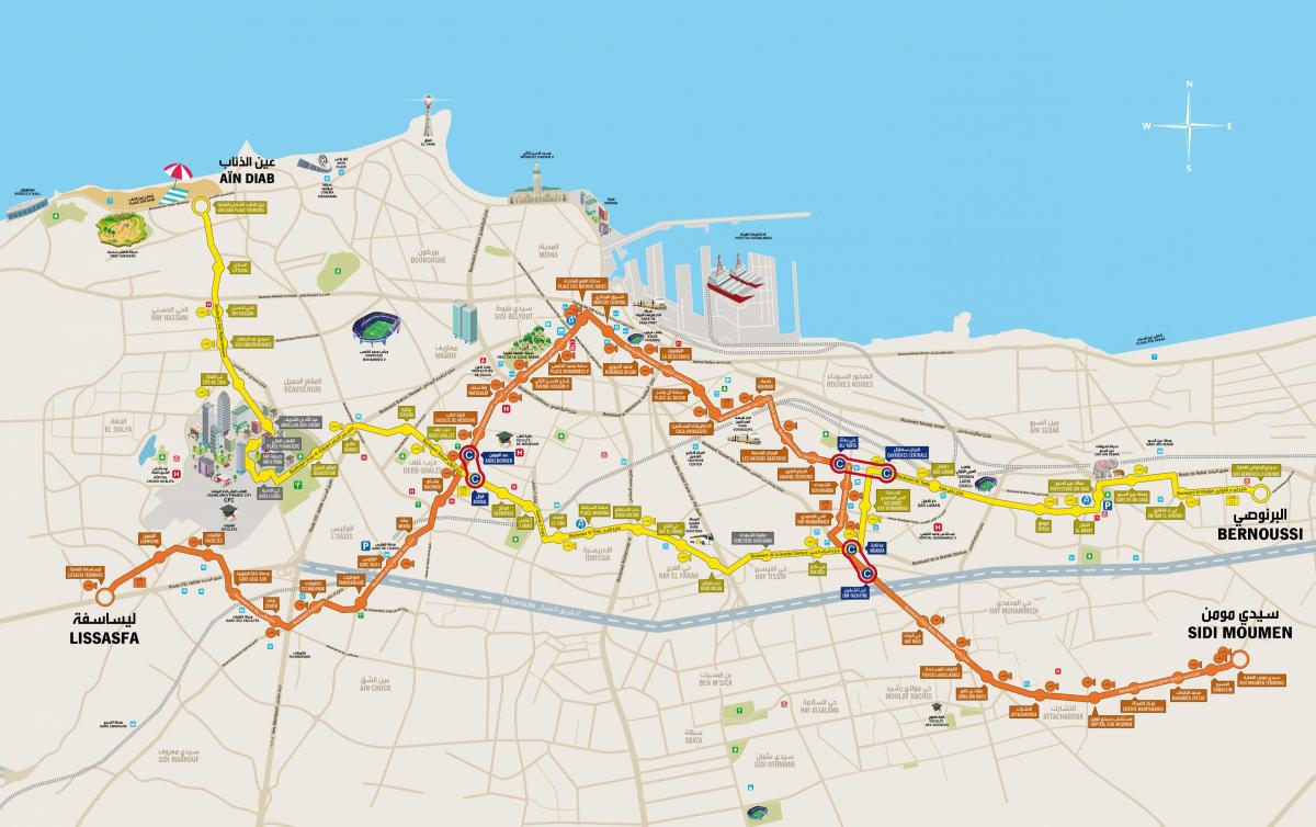 Casablanca tram stations map